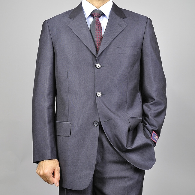 Men's Solid Black Three-button Suit