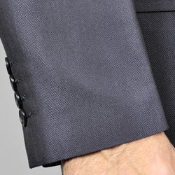 Men's Solid Black Three-button Suit - Thumbnail 1