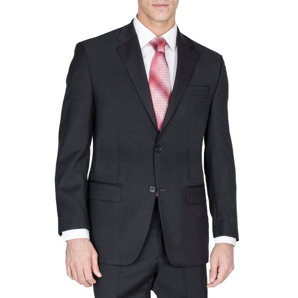 Mens Solid Black Two-button Suit