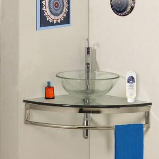 DreamLine Modern Glass Clear Corner Vanity Set