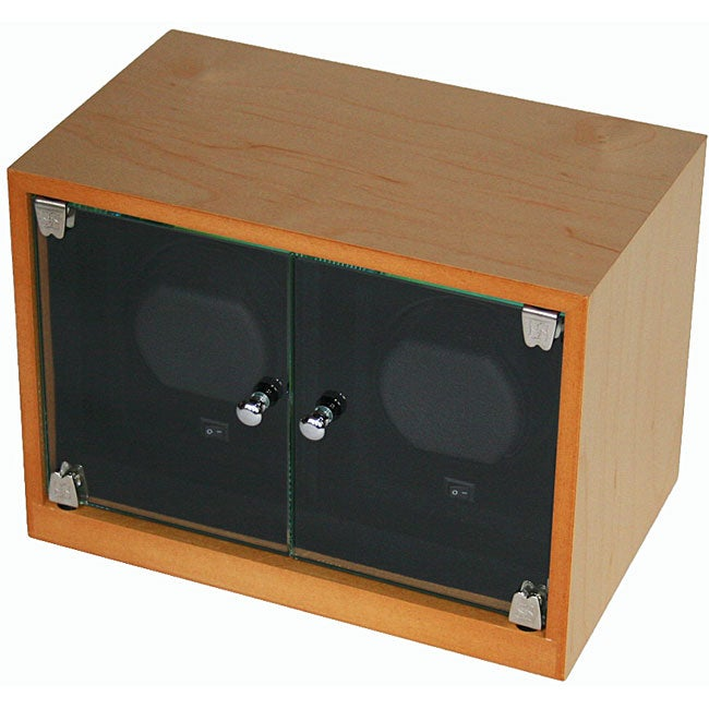 Double Maple Wood Watch Winder with Glass Doors AC/DC Adapter - Thumbnail 0
