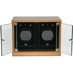 Double Maple Wood Watch Winder with Glass Doors AC/DC Adapter - Thumbnail 1