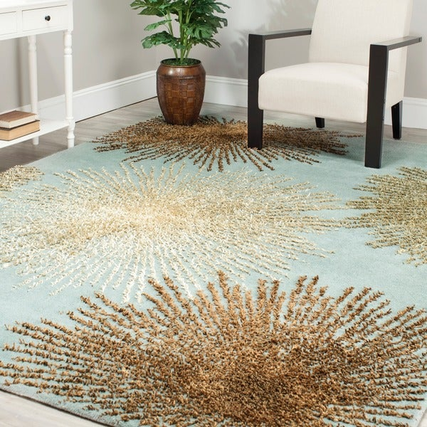 Safavieh Handmade Soho Burst Blue New Zealand Wool Shag Rug (7'6 x 9'6)