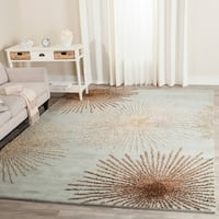 Safavieh Handmade Soho Burst Blue New Zealand Wool Shag Rug - 7'6 x 9'6
