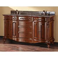Avanity Provence 60-inch Double Vanity in Antique Cherry Finish with Dual Sinks and Top