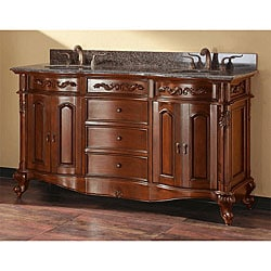 Avanity Provence 60 Inch Double Vanity In Antique Cherry Finish With Dual  Sinks And Top