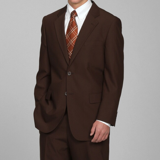 Men 39 s solid brown two button suit free shipping today for Mens chocolate brown shirt