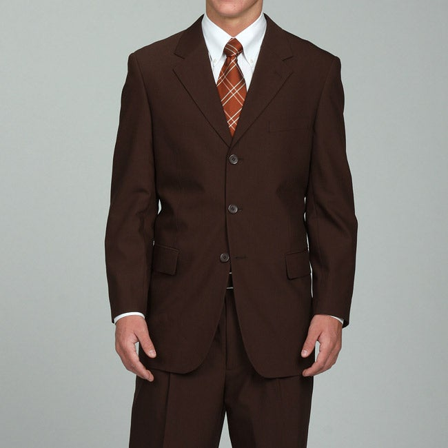 Men's Solid Brown Three-button Suit