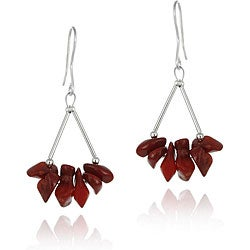 Glitzy Rocks Sterling Silver Coral Chip Earrings