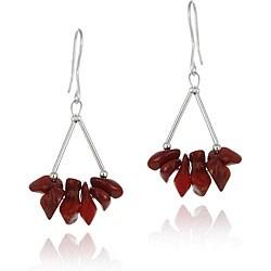 Glitzy Rocks Sterling Silver Coral Chip Earrings