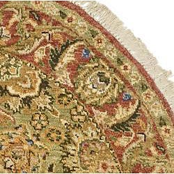 Oushak Hand-knotted Treasures Light Green/ Rose Wool Rug (4' Round) - Thumbnail 1