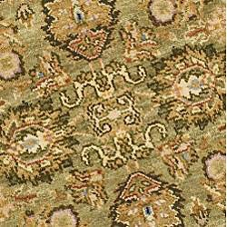 Oushak Hand-knotted Treasures Light Green/ Rose Wool Rug (4' Round) - Thumbnail 2
