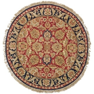 Oushak Hand-knotted Treasures Red/ Navy Wool Rug (4' Round)