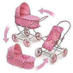 Badger Basket Co. Pink/ White Polka Dot Doll Pram/ Carrier - Thumbnail 1
