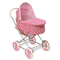 Badger Basket Co. Pink/ White Polka Dot Doll Pram/ Carrier - Thumbnail 0
