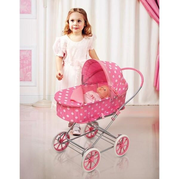Badger Basket Just Like Mommy 3-in-1 Doll Pram/Carrier/Stroller - Pink/Polka Dots