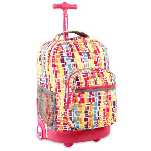 J World 'Sunrise' Squares Neon 18-inch Rolling Backpack