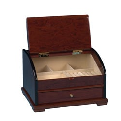 Brown Wood Suede-inlaid Rounded-top One-drawer Jewelry Collection Box - Thumbnail 1