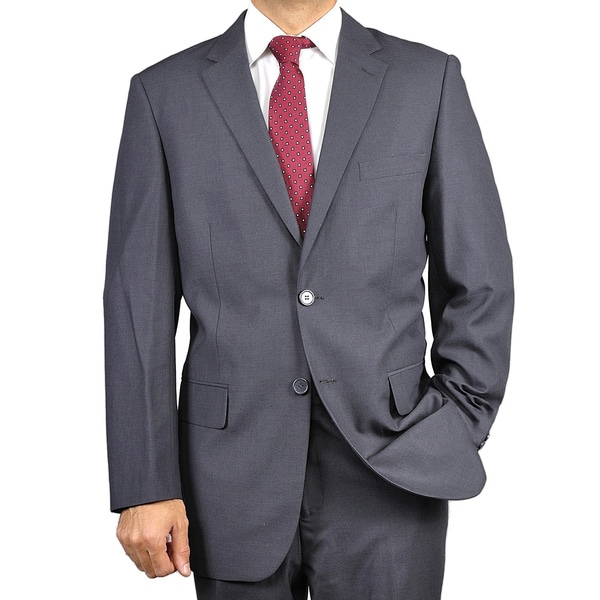 Men's Solid Charcoal Grey Two-button Suit - Free Shipping Today ...
