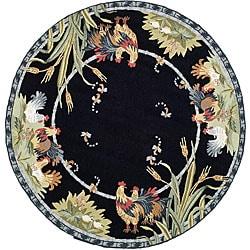 Safavieh Hand-hooked Roosters Black Wool Rug (3' Round)