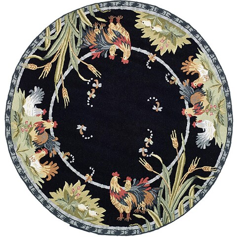 Safavieh Hand-hooked Roosters Black Wool Rug - 5'6 Round