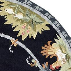 Safavieh Hand-hooked Roosters Black Wool Rug (8' Round) - Thumbnail 1