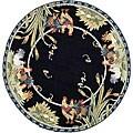 Safavieh Hand-hooked Roosters Black Wool Rug - 8' Round