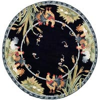 Safavieh Hand-hooked Roosters Black Wool Rug - 8' x 8' Round