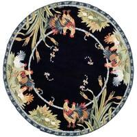 Safavieh Hand-hooked Roosters Black Wool Rug - 8' x 8' Round