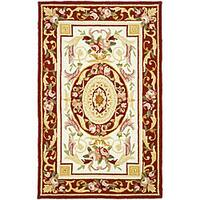 Safavieh Hand-hooked Aubusson Ivory/ Burgundy Wool Runner Rug - 2'6 x 4'