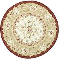 Safavieh Hand-hooked Aubusson Ivory/ Burgundy Wool Rug - 4' x 4' Round