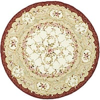 Safavieh Hand-Hooked Aubusson Ivory/Burgundy Wool Area Rug - 8' x 8' Round