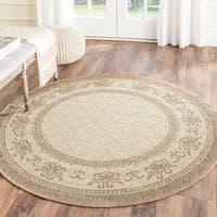 "Safavieh Royal Natural/ Brown Indoor/ Outdoor Rug - 5'3"" x 5'3"" round"