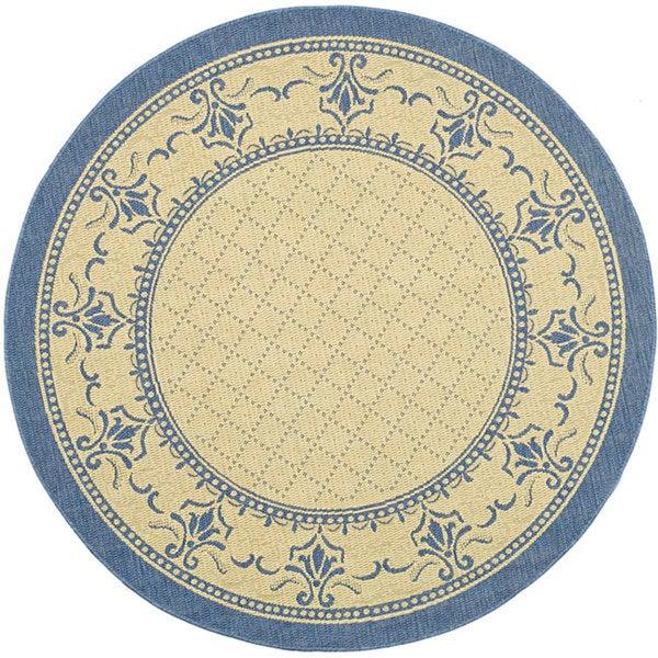 Safavieh Royal Natural/ Blue Indoor/ Outdoor Rug (5'3 Round)