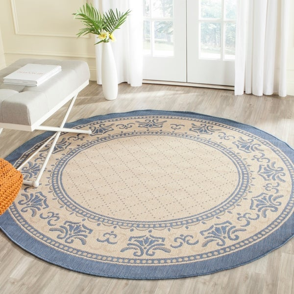 "Safavieh Royal Natural/ Blue Indoor/ Outdoor Rug - 5'3"" x 5'3"" round"