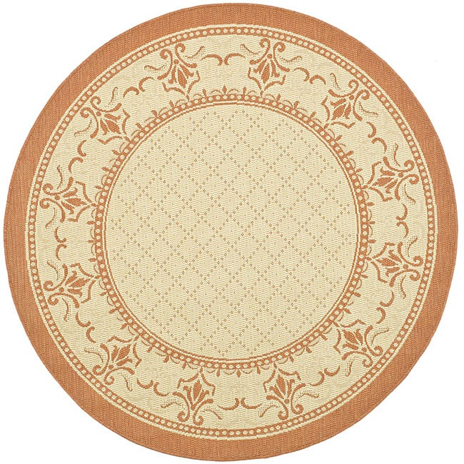 Safavieh Royal Natural/ Terracotta Indoor/ Outdoor Rug (5'3 Round)