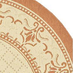 Safavieh Royal Natural/ Terracotta Indoor/ Outdoor Rug (5'3 Round) - Thumbnail 1