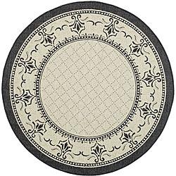 Safavieh Royal Sand/ Black Indoor/ Outdoor Rug (5'3 Round)