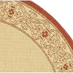 Safavieh Oceanview Natural/ Red Indoor/ Outdoor Rug (5'3 Round) - Thumbnail 1