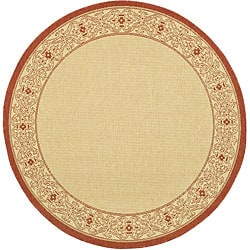 Safavieh Oceanview Natural/ Red Indoor/ Outdoor Rug - 5'3 round - Thumbnail 0