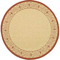 Safavieh Oceanview Natural/ Red Indoor/ Outdoor Rug (5'3 Round) - 5'3