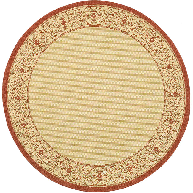 Safavieh Oceanview Natural/ Red Indoor/ Outdoor Rug (6'7 Round) - Thumbnail 0