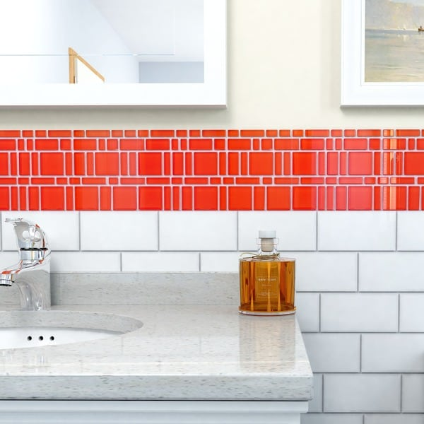 SomerTile 11.75x11.75-inch Reflections Magic Carnelian Glass Mosaic ...