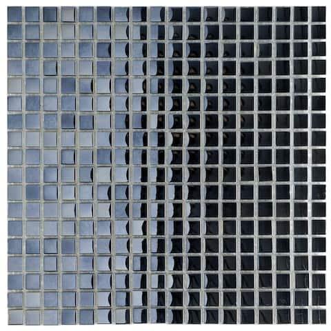 SomerTile 11.75x11.75-inch Obsidian Mini Mirror Glass Mosaic Wall Tile (10 tiles/9.79 sqft.)