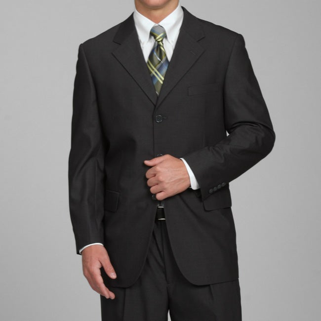 Men's Solid Charcoal Grey Three-button Suit - Thumbnail 0