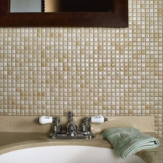 SomerTile 12x12-in Samoan 9/16-in Perla Bone Porcelain Mosaic Tile (Pack of 10)