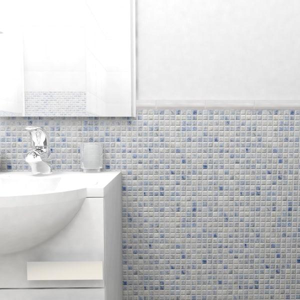 SomerTile 12x12-in Samoan 9/16-in Neptune Blue Porcelain Mosaic Tile (Pack of 10)