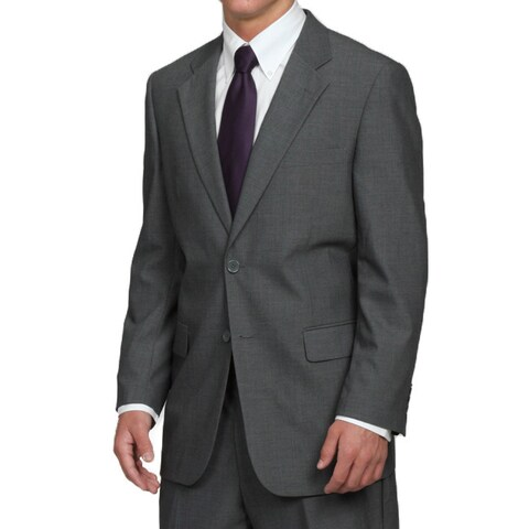 Men's Grey 2-button Solid Classic Medium Suit