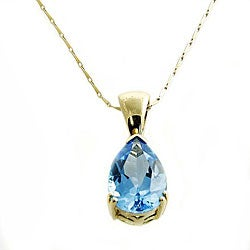 Beverly Hills Charm 14k Yellow Gold Blue Topaz Necklace