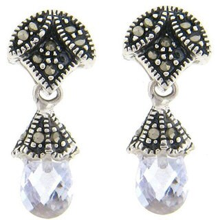 Dolce Giavonna Silver Marcasite and Lavender Cubic Zirconia Drop Earrings